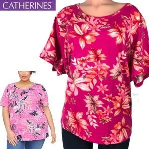 New Catherines short sleeve floral tunic top 3XWP